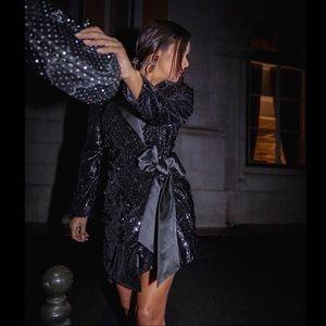 NWT Zara Black Sequin Blazer Dress